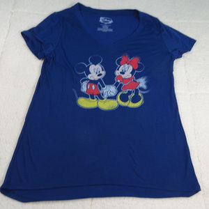 Disney Blue Mickey & Minnie T-Shirt Large